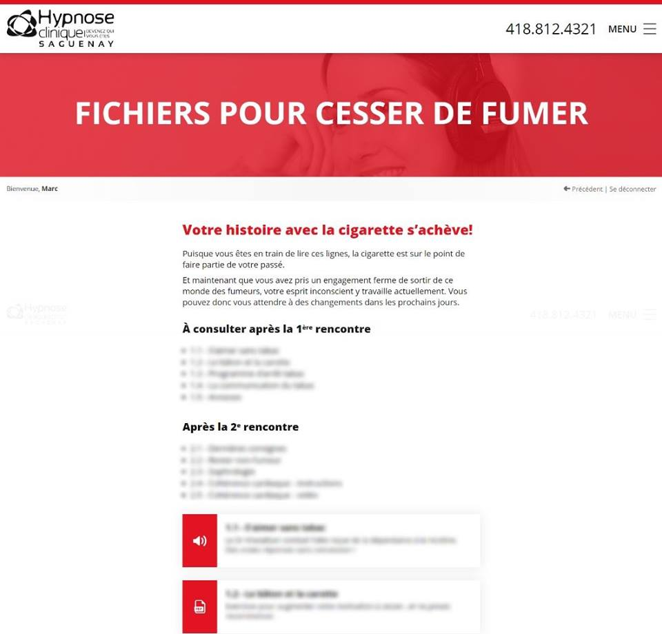 Section EXTRA, audio pour cesser de fumer, MP3